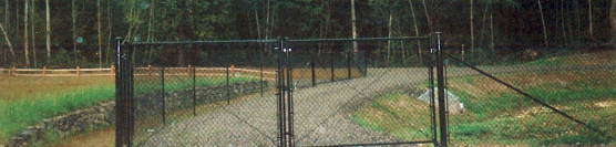 Black Chain Link Double Drive Gate